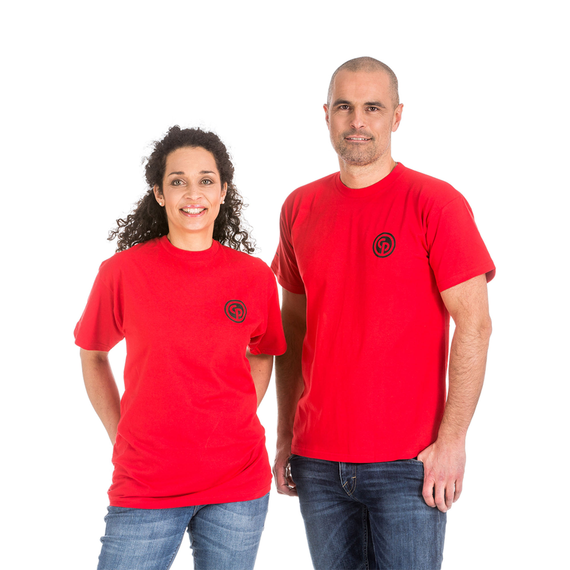 One colored red t-shirt made of high quality fabric. Printed logo on the left sleeve (People.Passion.Perfomance) and Chicago Pneumatic logo on left chest.