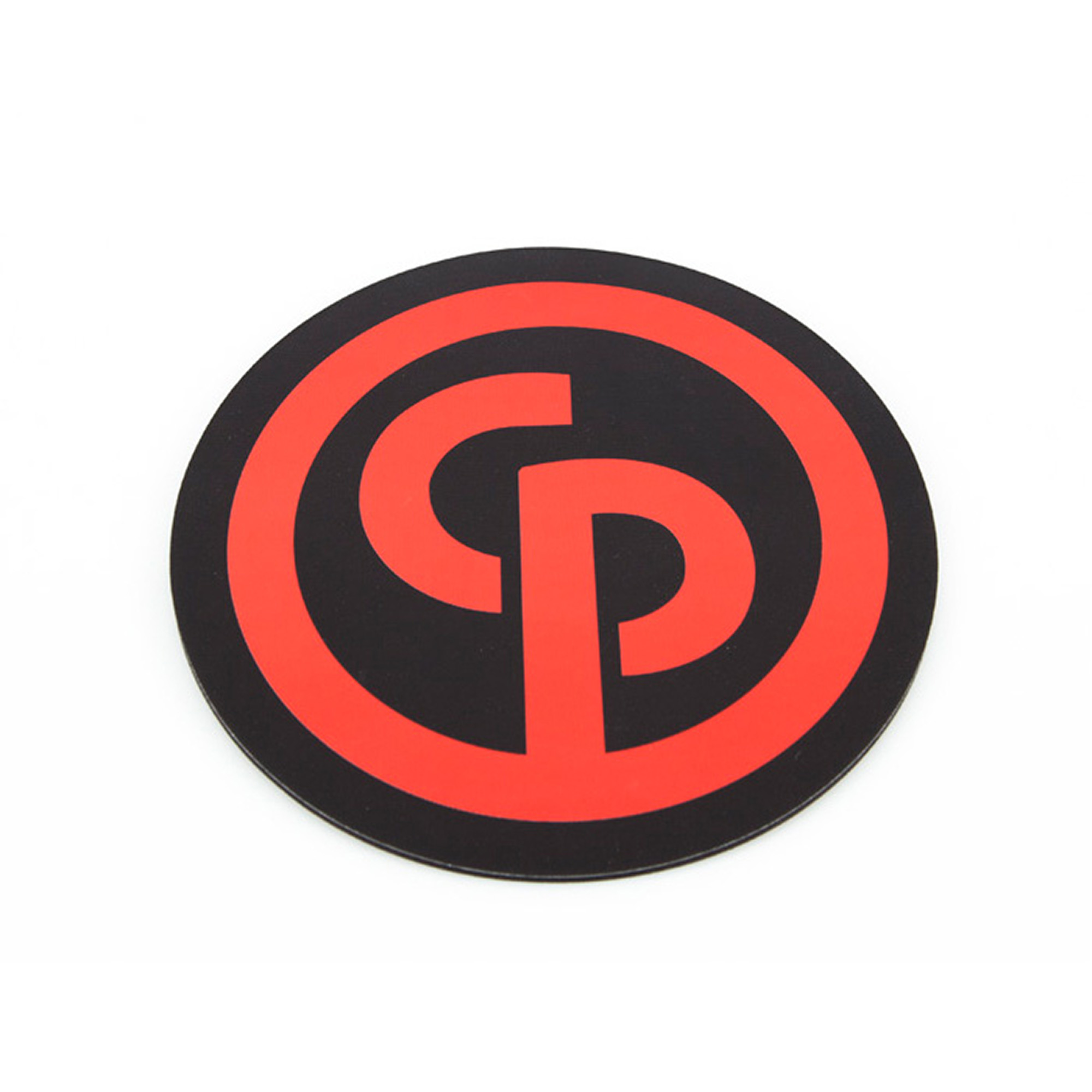 Round mouse mat in black color with CP logo printed in red. PVC top with a 3 mm rubber sponge.