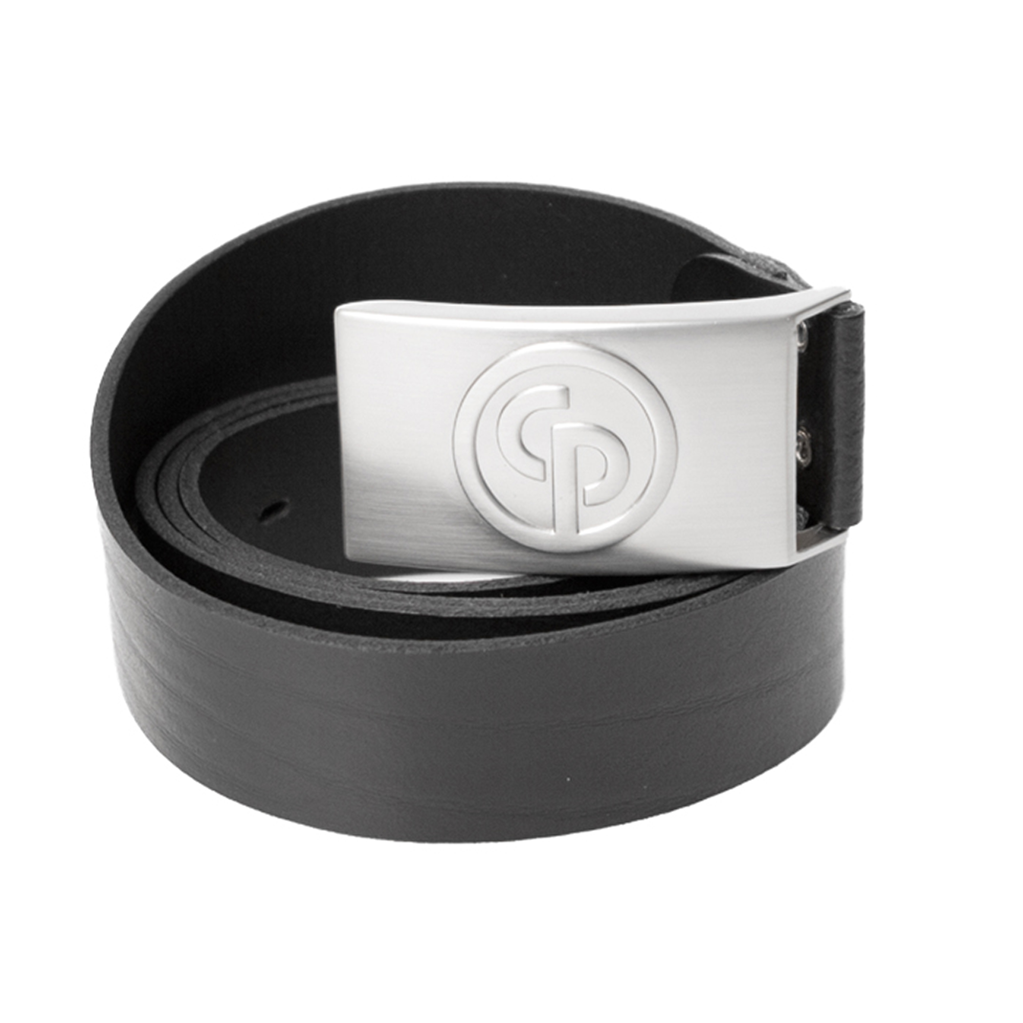 Leather belt in genuine calf leather. Designed metal buckle with an embossed CP logo. The belt is adjustable in length. Delivered in a black cotton pouch.