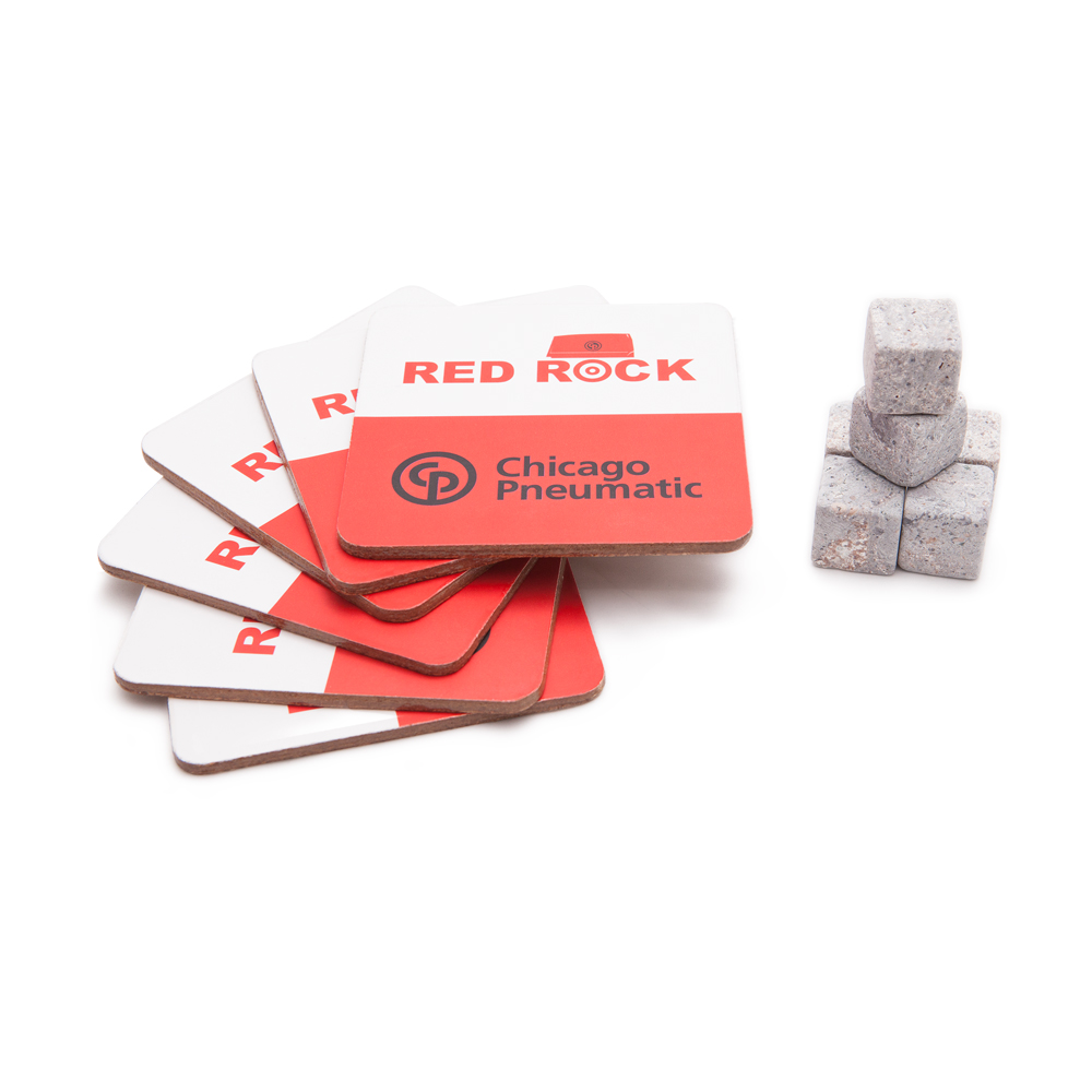 Kit with 6 coasters and 6 drink rocks. Packed in giftbox with Red Rock design.