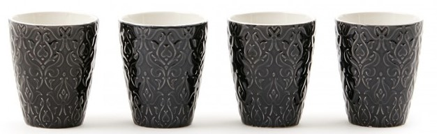 Set of mugs containing four cups. Delivered in a gift box. Brand: Vinga of Sweden