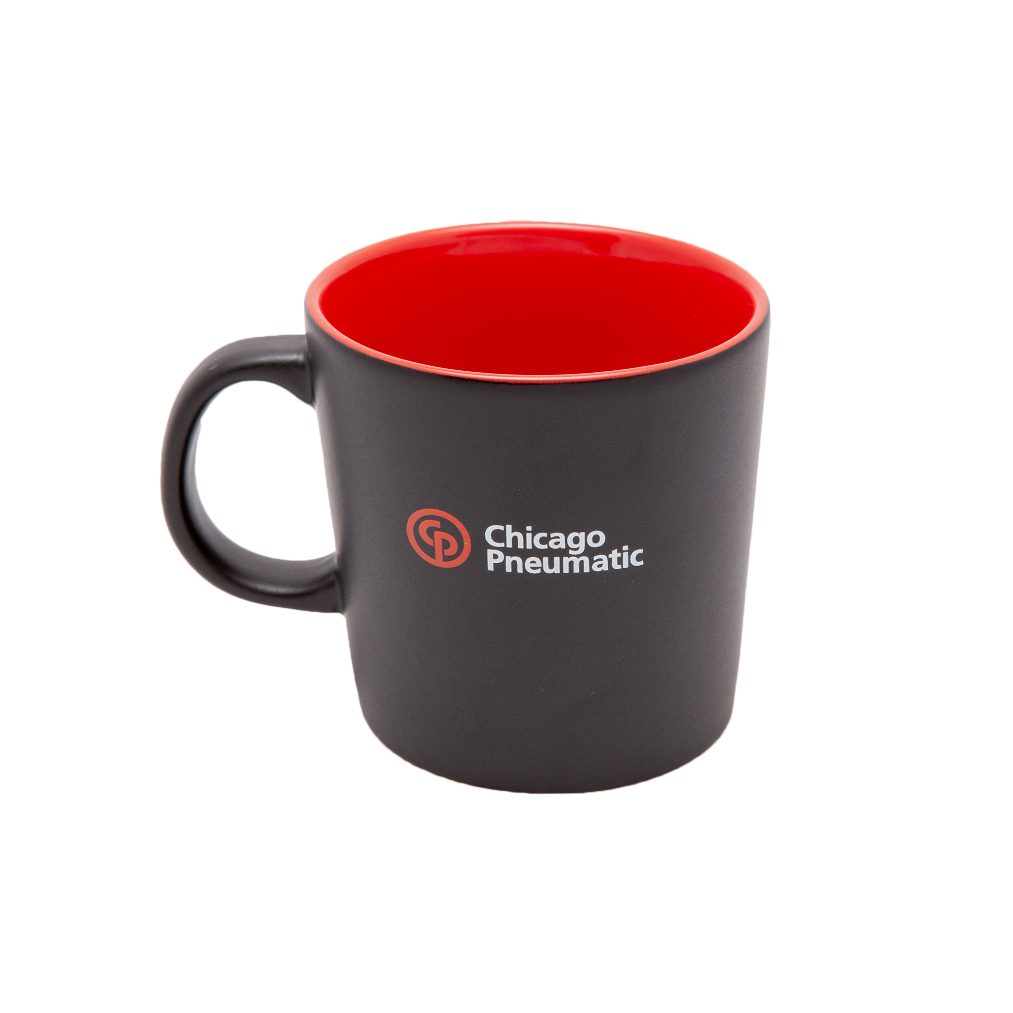 Coffee mug with matte exterior and with red blank inside.